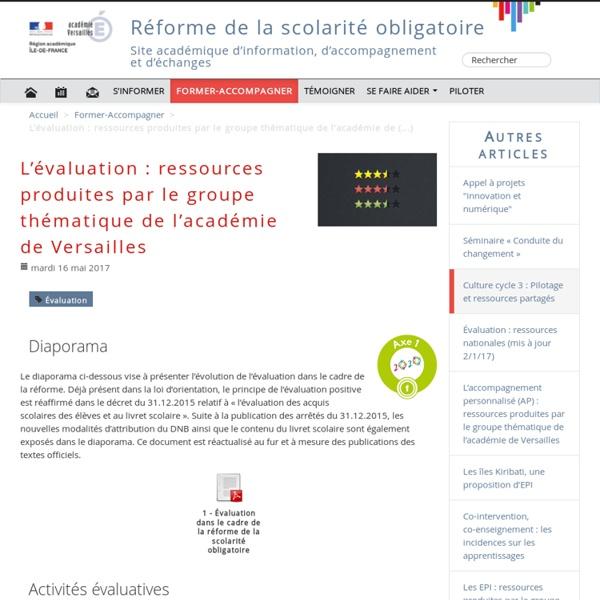 L'évaluation : ressources produites par le groupe thématique de l'académie de Versailles - Réforme du collège