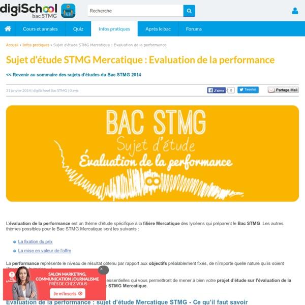 Evaluation de la Performance - Sujet d'étude Bac STMG Mercatique 2014