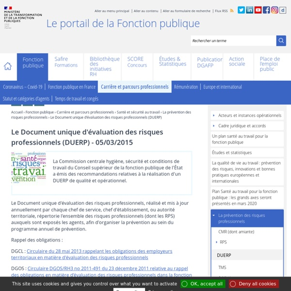 Le Document unique d'évaluation des risques professionnels (DUERP)