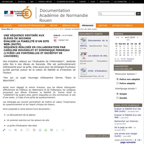 Evaluer la fiabilité d'un site Web (suite)