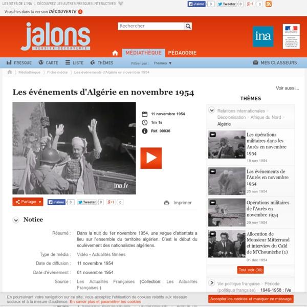 Les événements d'Algérie en novembre 1954 - Jalons pour l'histoire du temps présent
