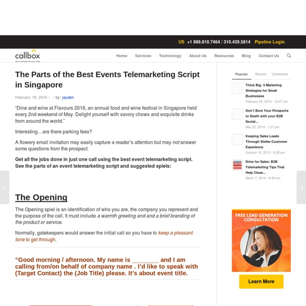 The Parts of the Best Events Telemarketing Script in Singapore
