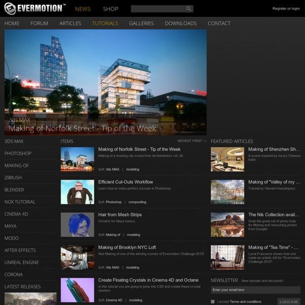 Tutorials from Evermotion - vray, 3dsmax, maya, photoshop, lightwave, modeling, XSI, maya