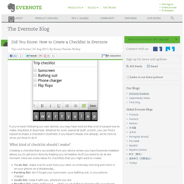 Did You Know: How to Create a Checklist in Evernote