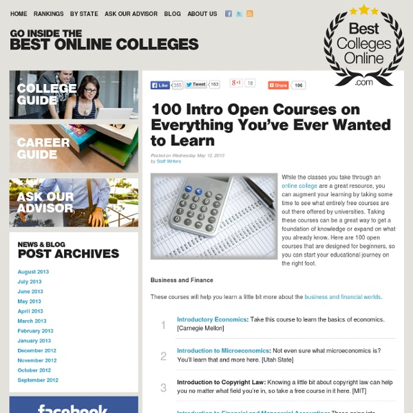 100 Intro Open Courses on Everything You've Ever Wanted to Learn