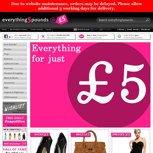 Everything 5 Pounds – Cheap Clothes – Cheap Dresses – Cheap Shoes