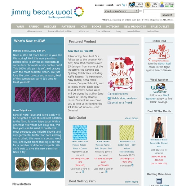 Everything knitting including yarn, needles, kits, sale yarn, free knitting patterns, and more at Jimmy Beans Wool