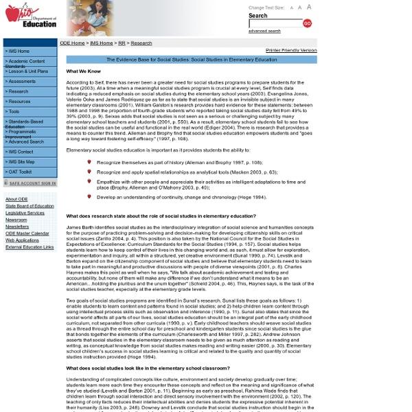 The Evidence Base for Social Studies: Social Studies in Elementary Education
