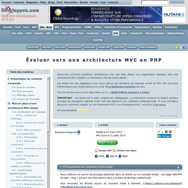 Évoluer vers une architecture MVC en PHP