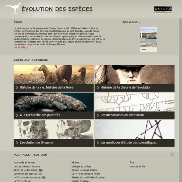 SITE Canopé : Évolution des espèces