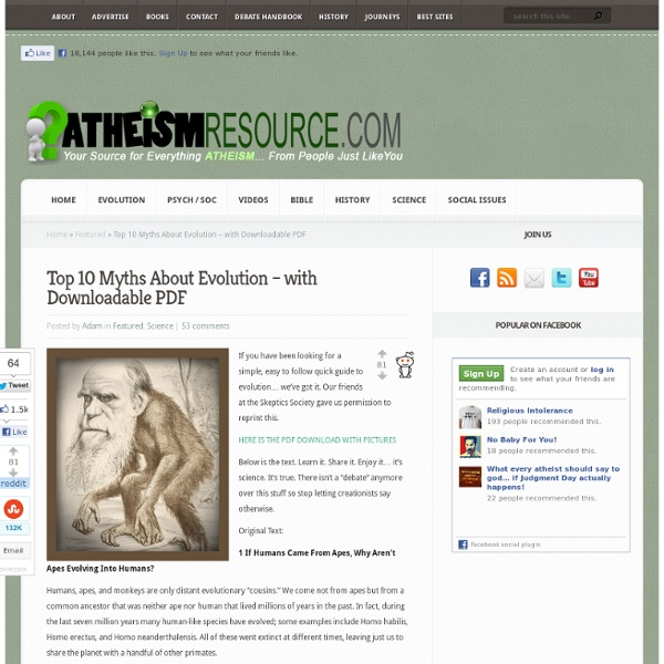 Top 10 Myths About Evolution - with Downloadable PDF