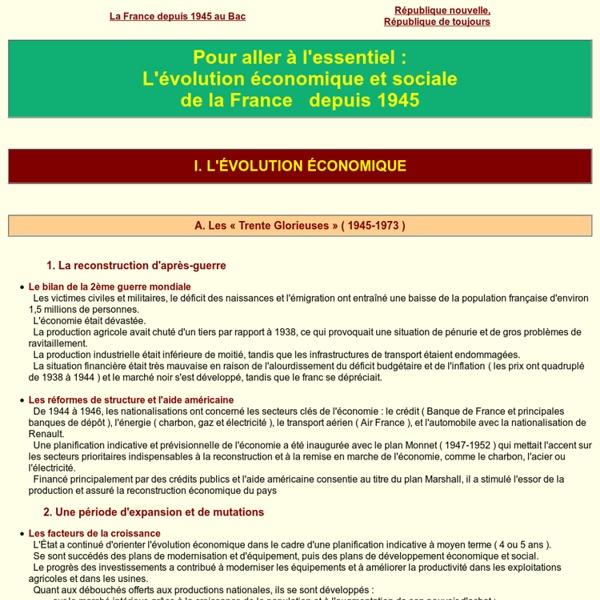 L'évolution économique et sociale de la France depuis 1945