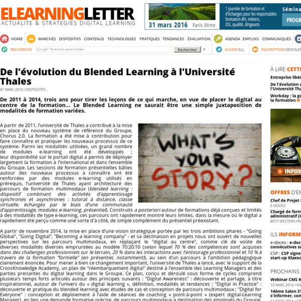 De l'évolution du Blended Learning à l'Université Thales (e-learning letter)