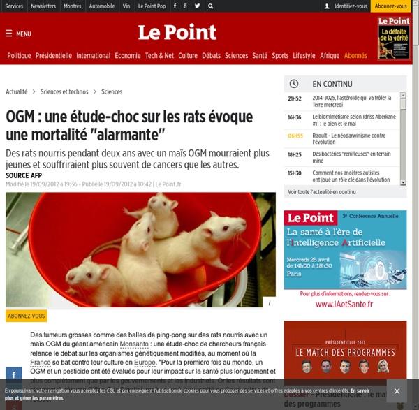 """BREF : Etude sur les rats - mortalité """"alarmante"""""""