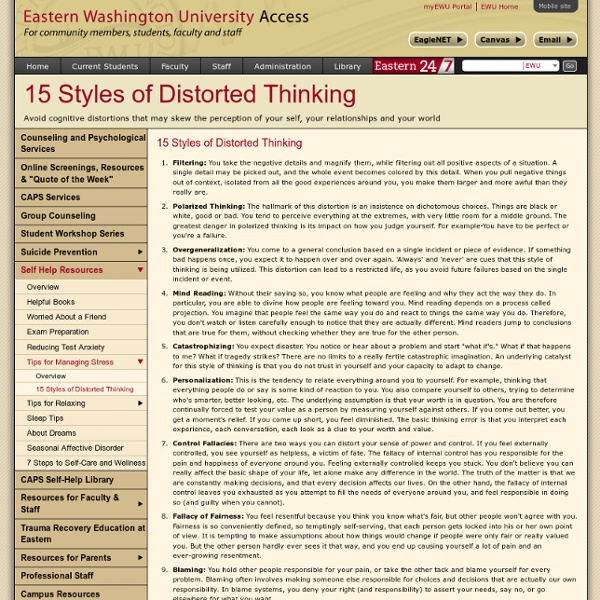 15 Styles of Distorted Thinking