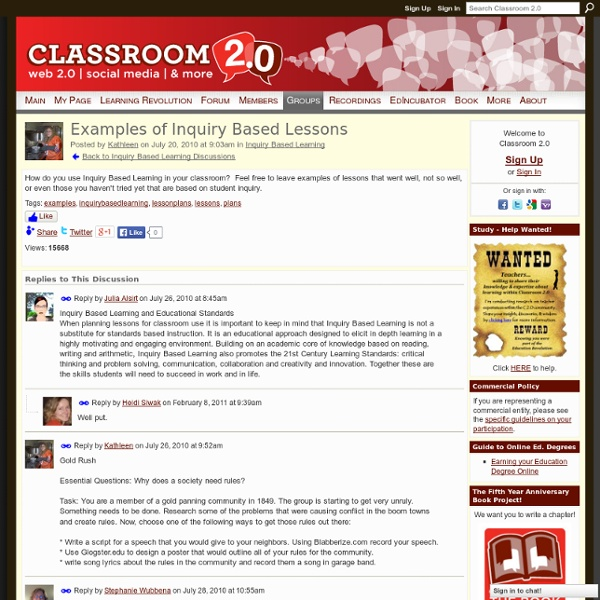 Examples of Inquiry Based Lessons
