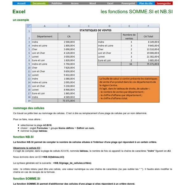 Excel - la fonction SOMME.SI