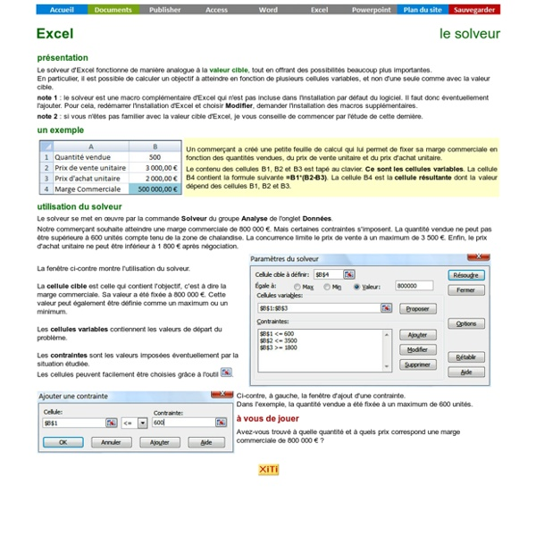 Excel - le solveur