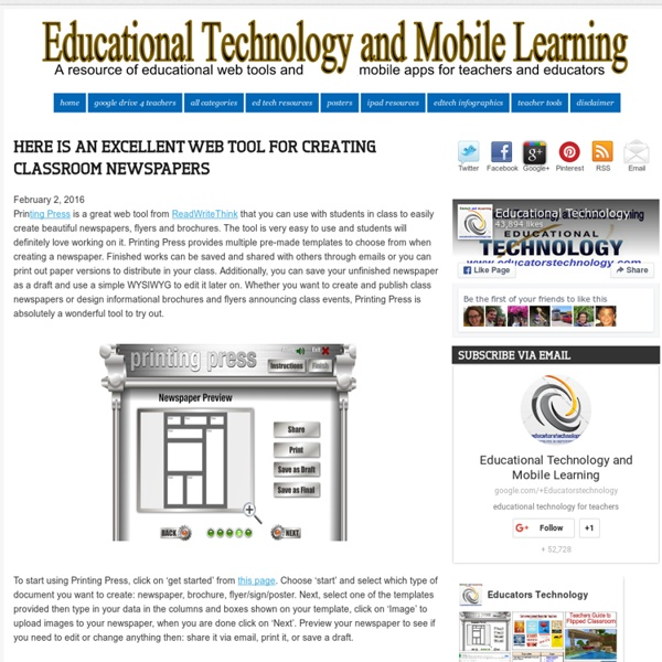Here Is An Excellent Web Tool for Creating Classroom Newspapers