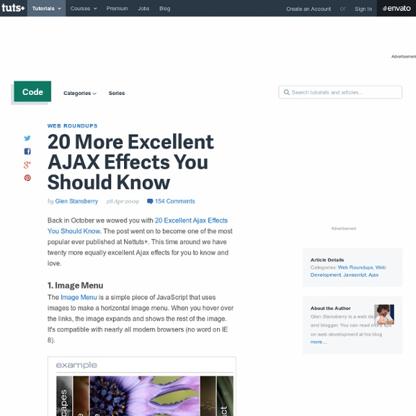 20 More Excellent AJAX Effects You Should Know