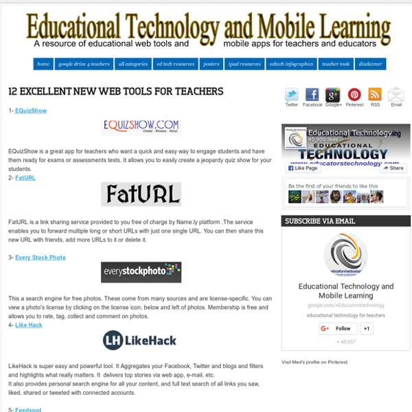 12 Excellent New Web Tools for Teachers