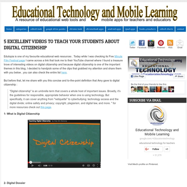 5 Excellent Videos to Teach Your Students about Digital Citizenship