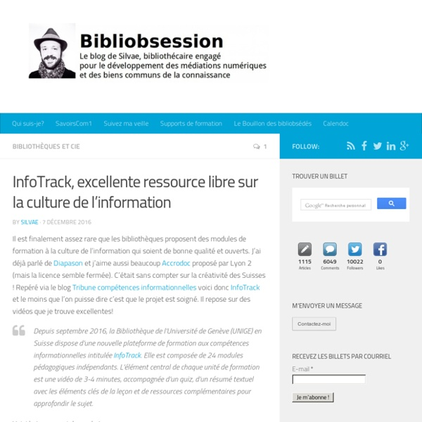 InfoTrack, excellente ressource libre sur la culture de l'information -