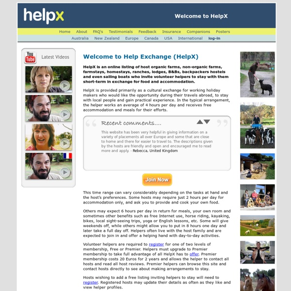 Help Exchange: free volunteer work exchange abroad Australia New Zealand Canada Europe