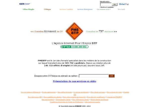 PMEBTP - Postuler en ligne dans le Batiment et des Travaux Publics