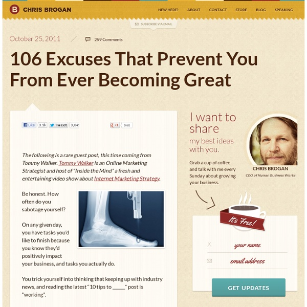 106 Excuses That Prevent You From Ever Becoming Great