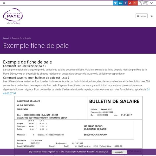 Exemple fiche de paie - Externalisation de la paye
