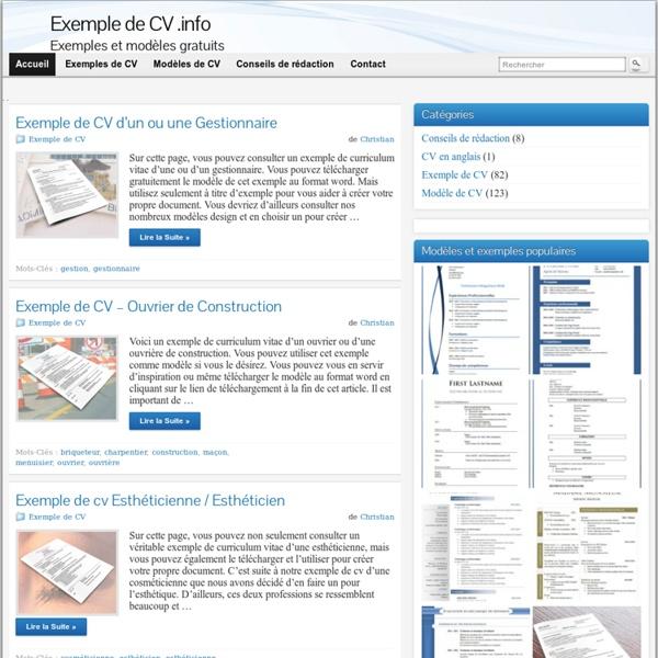 exemple de cv  info  u00bb 676 exemples et mod u00e8les gratuits