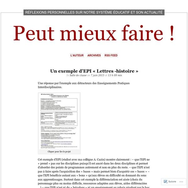 Préférence Un exemple d'EPI « Lettres -histoire | Pearltrees MC72