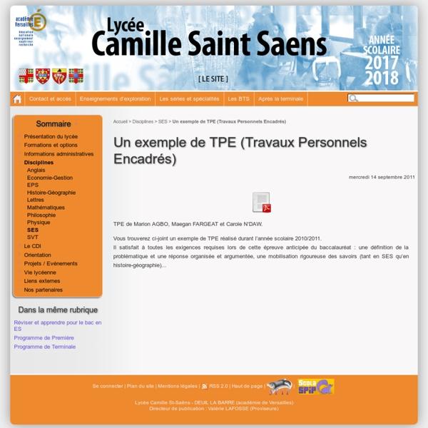 Un exemple de TPE (Travaux Personnels Encadrés) - Lycée St-Saëns - DEUIL LA BARRE