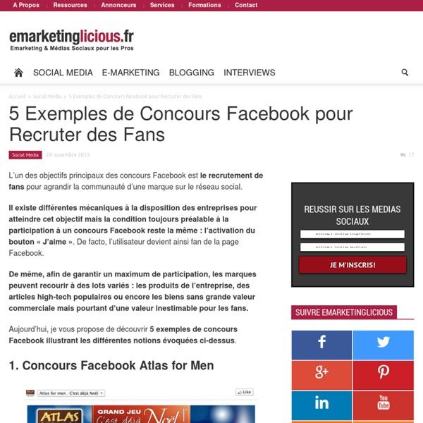5 Exemples de Concours Facebook pour Recruter des Fans