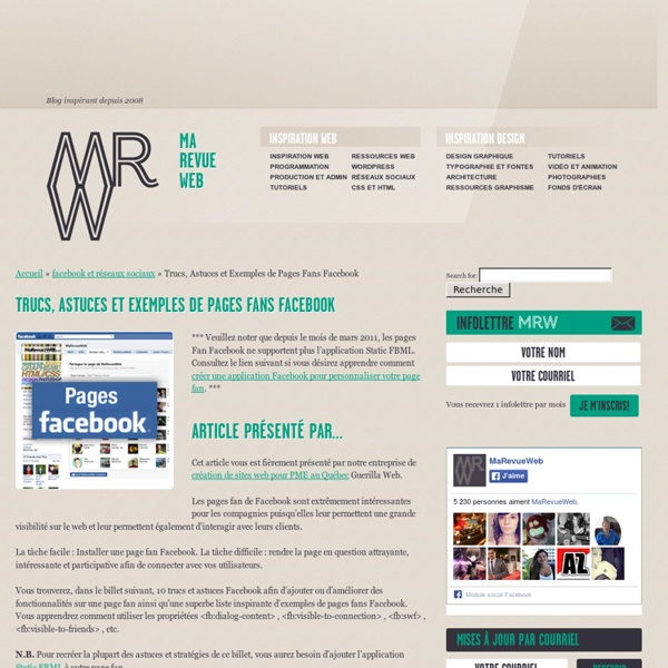 Exemples de Pages Fans Facebook, Trucs et Astuces