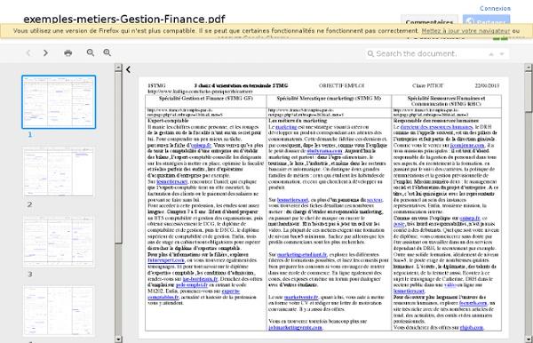 Exemples metiers Gestion Finance