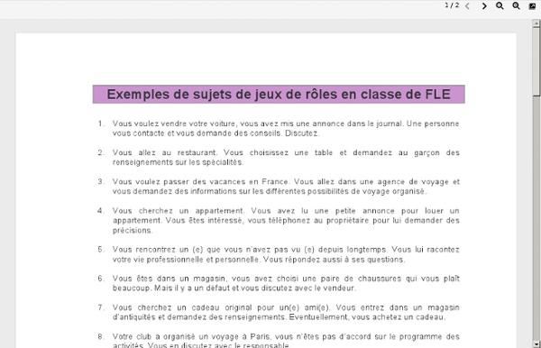 Exemples de sujets de jeux de roles en classe de FLE - Exemples de sujets de jeux de roles en classe de FLE.pdf
