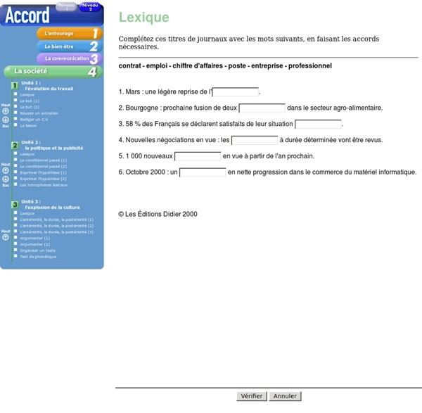 Exercices autocorrectifs de FLE - L'évolution du travail - Accord niveau 2 dossier 4 - Editions Didier -