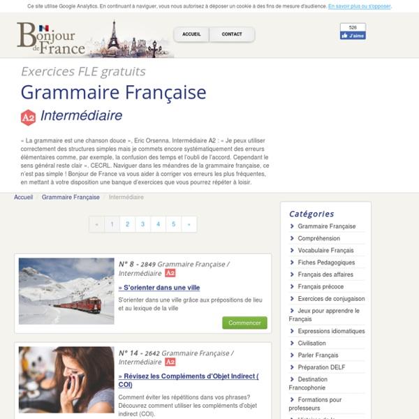Bonjour de france Exercices de grammaire - Élémentaire A2