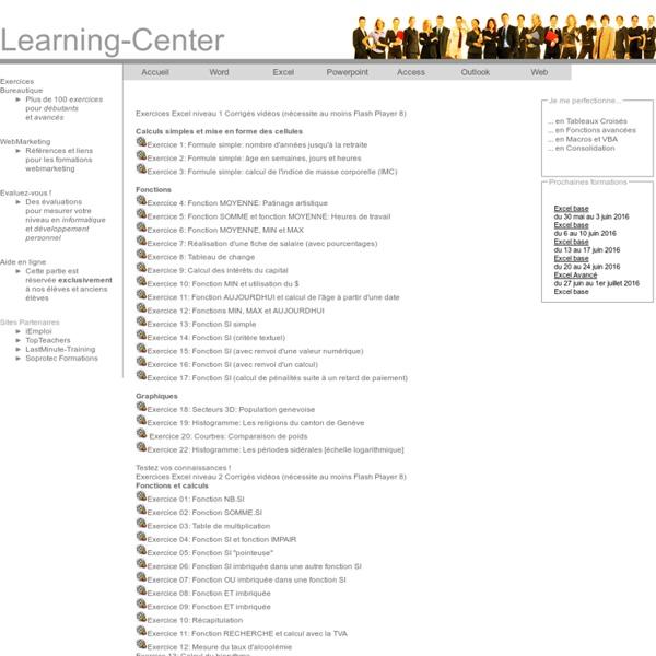Exercices Excel - Formules simples, fonctions et graphiques - Genève