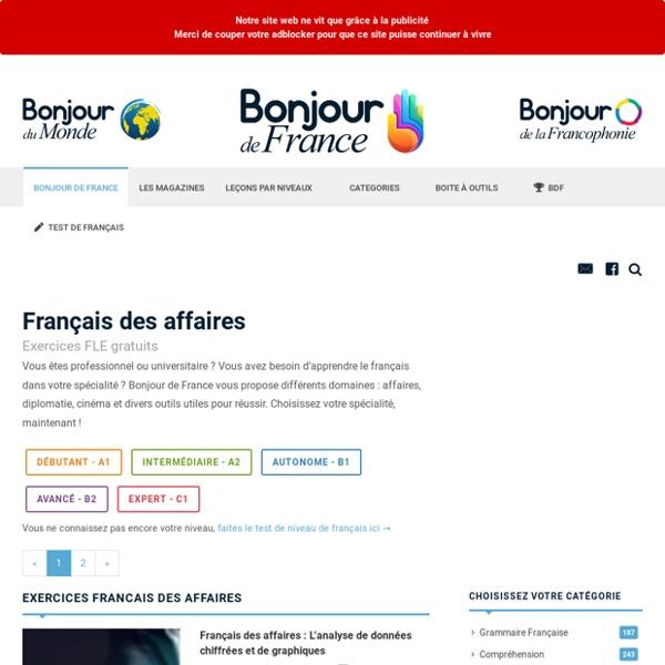 Exercices de français - Français des affaires - Selection du niveau
