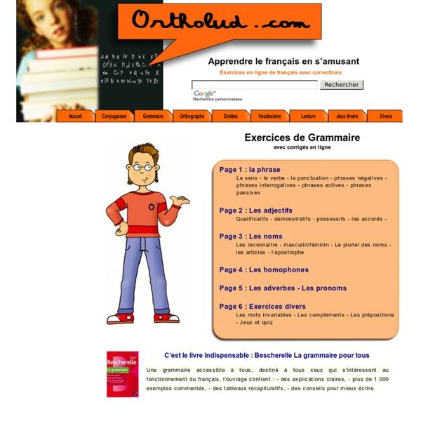 Exercices de grammaire en ligne avec correction