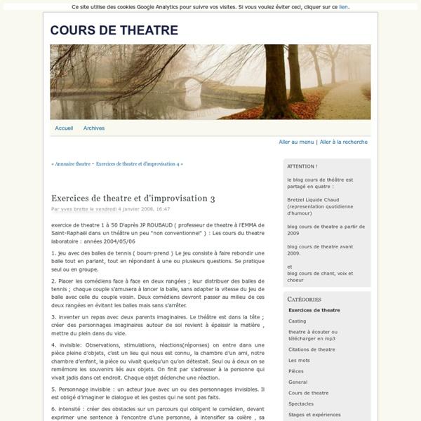 Exercices de theatre et d'improvisation 3 - cours de theatre