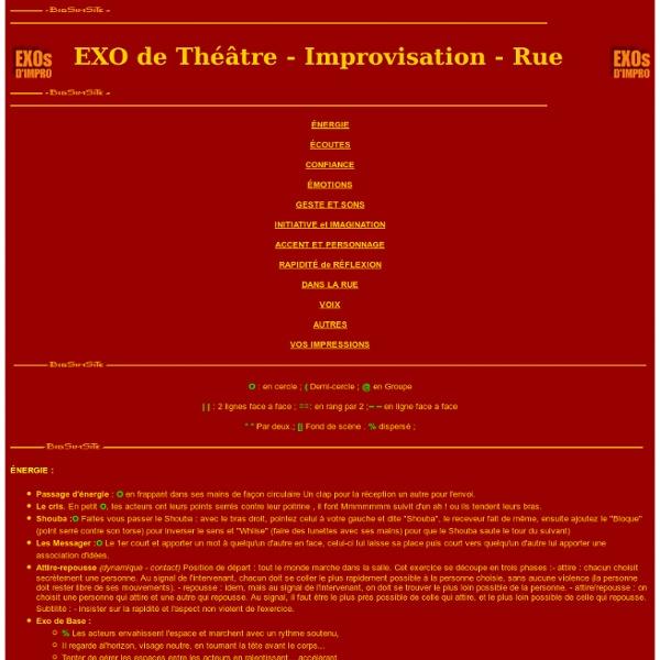 Exercices de théâtre et d'improvisation .