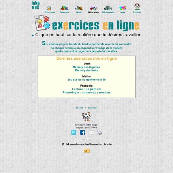 Exercices en ligne pour le cycle 2 ( gs cp ce1 ) : lakanal.net