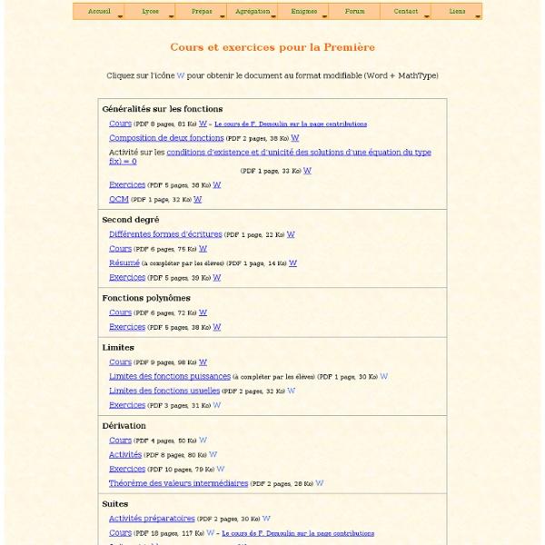 Bac à Maths : cours, exercices et devoirs de Mathématiques en Première S (1S)