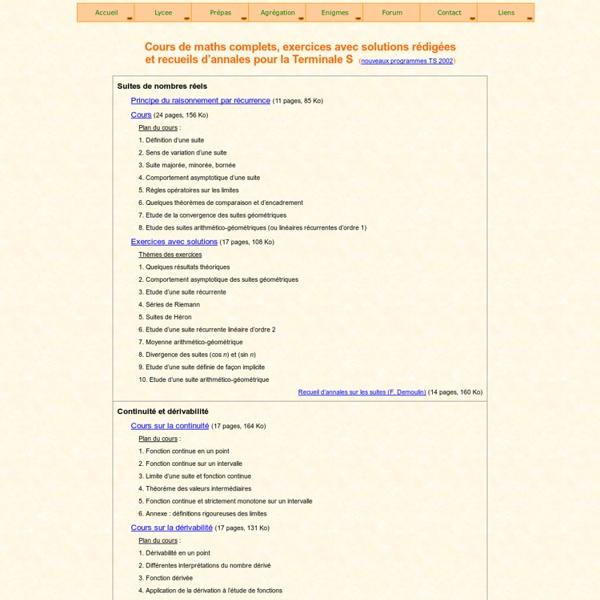 Bac à Maths : cours et exercices de Mathématiques en Terminale S (TS)