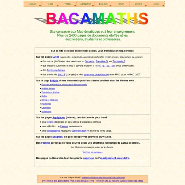 Bac à Maths : cours et exercices de Mathématiques : lycée (1S - TS), prépas, forum