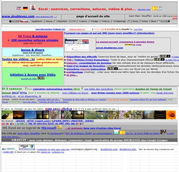 Excel gratuit, exercices & corrigés en vidéos © jean-marc stoeffler http://w.com = http://doublevez.com